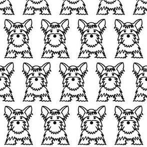 Yorkie dog print - White background