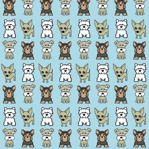 Mix small dog print - baby blue