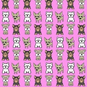 Mix small dog print - baby pink
