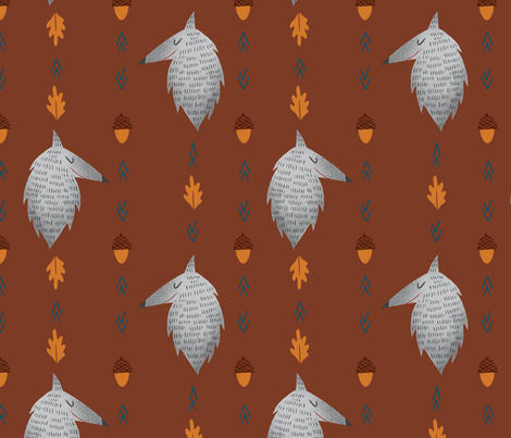 Fall Wolf fabric by annepasschier on Spoonflower - custom fabric