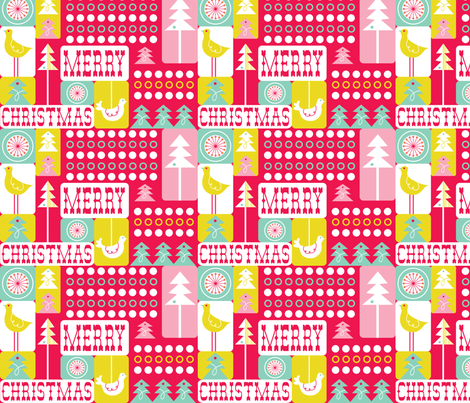 Christmas Collage - Festive Red fabric by heatherdutton on Spoonflower - custom fabric