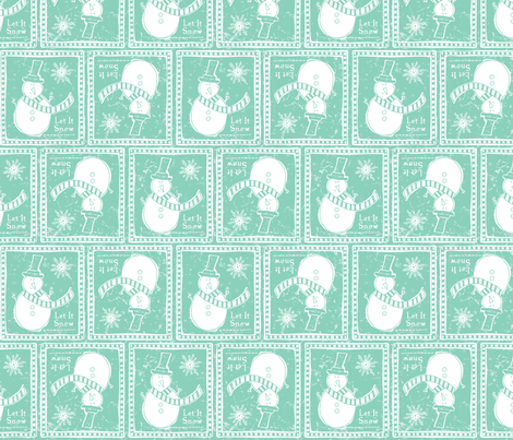 Let It Snow - Festive & Remix Teal fabric by heatherdutton on Spoonflower - custom fabric