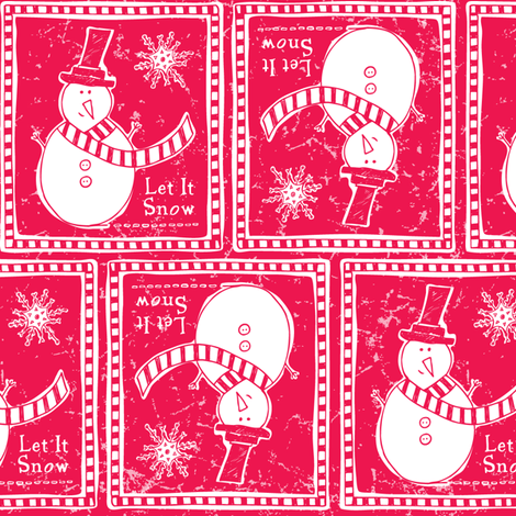 Let It Snow - Festive Red fabric by heatherdutton on Spoonflower - custom fabric