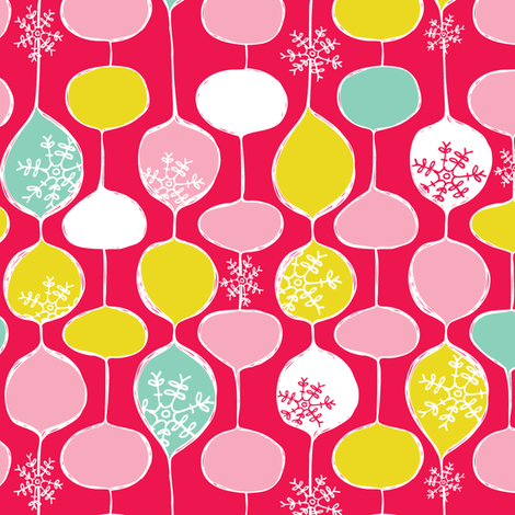 Snowflake Holiday Bobbles - Festive fabric by heatherdutton on Spoonflower - custom fabric