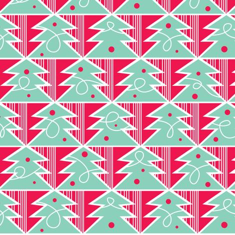 Trim A Tree - Festive Red fabric by heatherdutton on Spoonflower - custom fabric