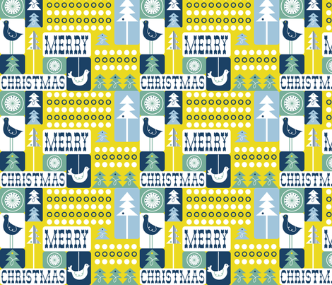 Christmas Collage - Frost Green fabric by heatherdutton on Spoonflower - custom fabric