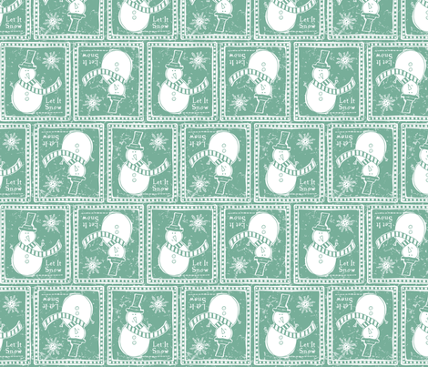 Let It Snow - Frost Evergreen fabric by heatherdutton on Spoonflower - custom fabric