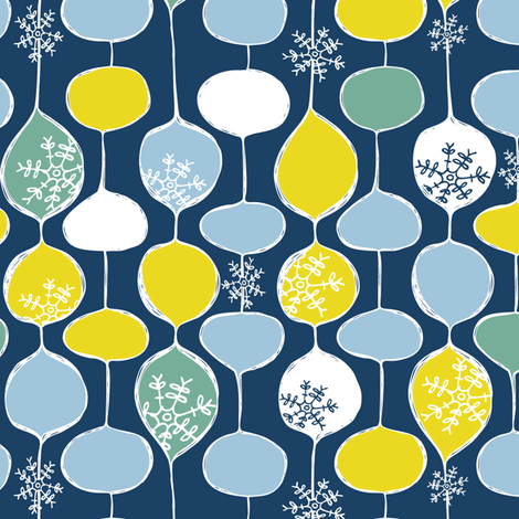 Snowflake Holiday Bobbles - Frost fabric by heatherdutton on Spoonflower - custom fabric