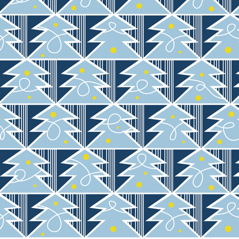 Trim A Tree - Frost Blue fabric by heatherdutton on Spoonflower - custom fabric