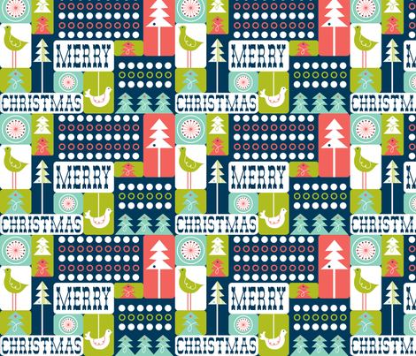 Christmas Collage - Remix Blue fabric by heatherdutton on Spoonflower - custom fabric