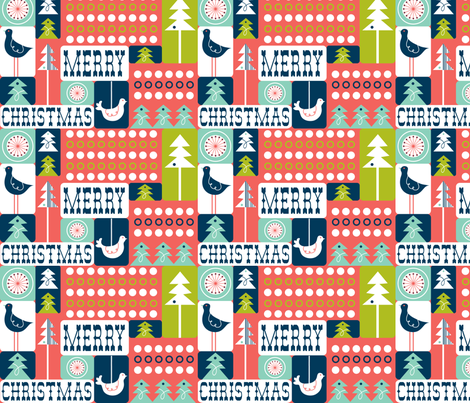 Christmas Collage - Remix Red fabric by heatherdutton on Spoonflower - custom fabric