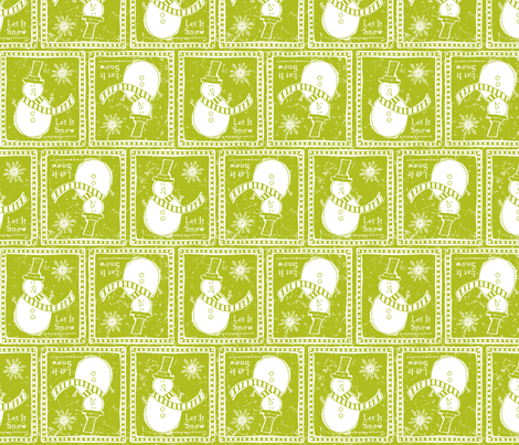 Let It Snow - Remix Green fabric by heatherdutton on Spoonflower - custom fabric