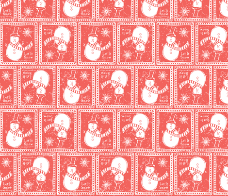 Let It Snow - Remix Red fabric by heatherdutton on Spoonflower - custom fabric