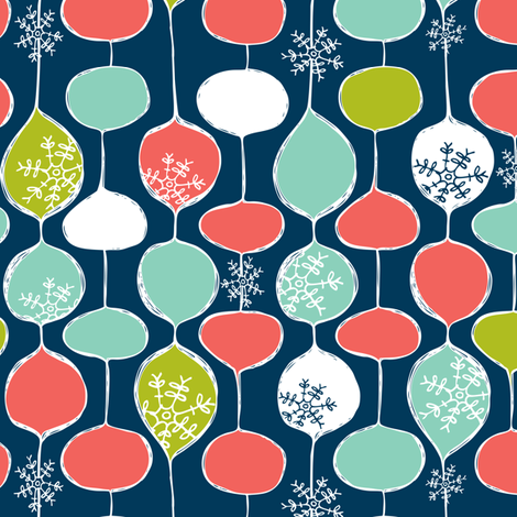 Snowflake Holiday Bobbles - Remix fabric by heatherdutton on Spoonflower - custom fabric