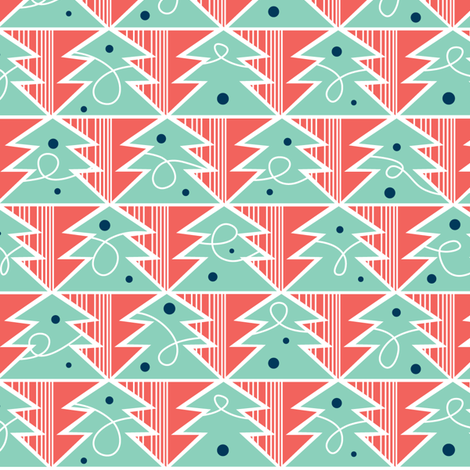 Trim A Tree - Remix Red fabric by heatherdutton on Spoonflower - custom fabric