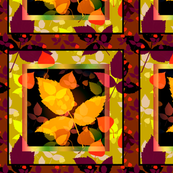 Fall leaves in burgundy/lime cheater quilt
