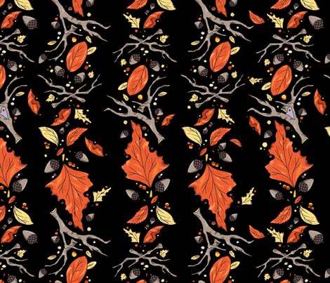 Falling Leaves Stripe Dramatic Black fabric by beesocks on Spoonflower - custom fabric