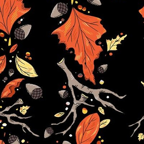 Falling Leaves Stripe Dramatic Black