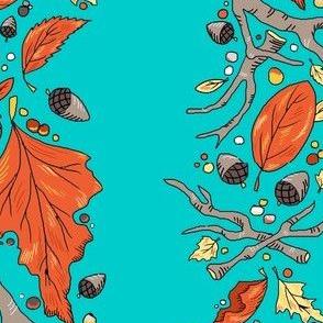falling leaves stripe aqua sky