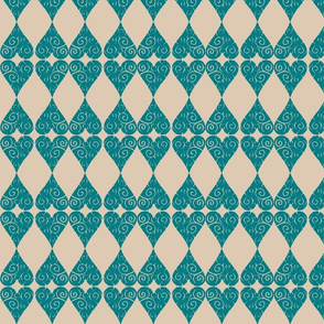 Teal n' Taupe Valentique