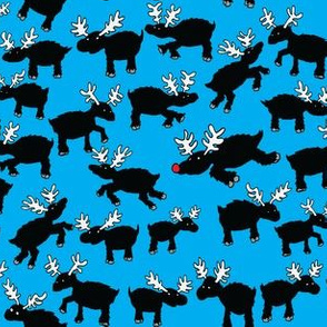 Silhouette Reindeer on Blue