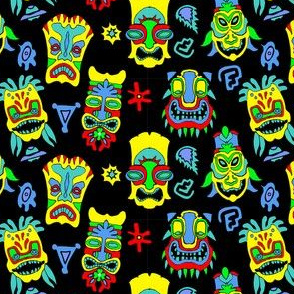 Tiki Masks - Yellow and Blue