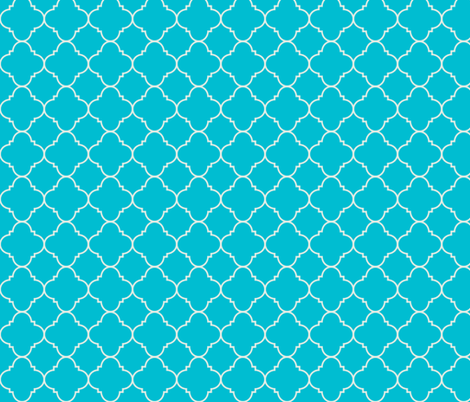 turquoise quatrefoil fabric by evenspor on Spoonflower - custom fabric