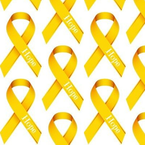 Gold Ribbon with Hope