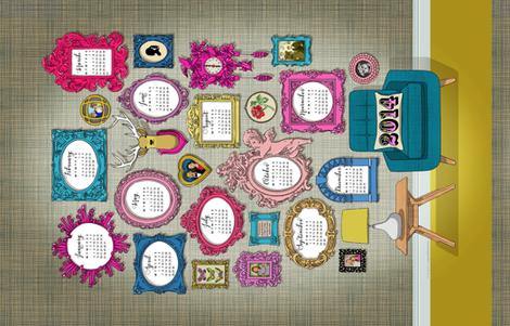 Calendar 2014 BOTH COLOURWAYS on a yard fabric by cerigwen on Spoonflower - custom fabric