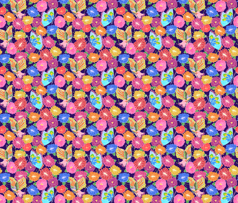 Butterflies & Flowers (dark background) fabric by lydia_meiying on Spoonflower - custom fabric