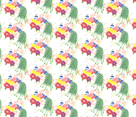 Peacock (light, small print) fabric by lydia_meiying on Spoonflower - custom fabric