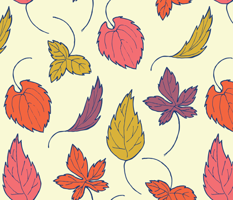 leaves falling in sunlight fabric by susannekasielke on Spoonflower - custom fabric