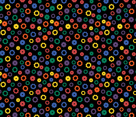 Rainbow Robot Gears (Dark) fabric by robyriker on Spoonflower - custom fabric