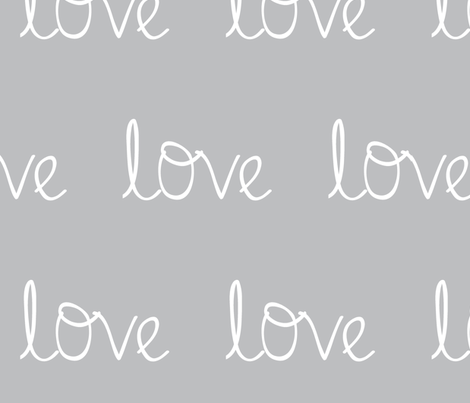 Love on mid grey fabric by don't_blame_betty on Spoonflower - custom fabric
