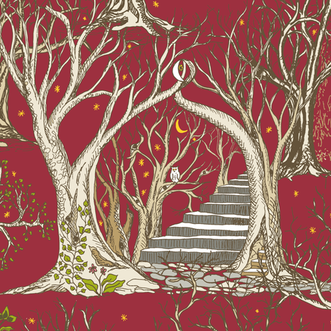 Ghostly Trees in the Fiery Autumn Forest fabric by rhondadesigns on Spoonflower - custom fabric