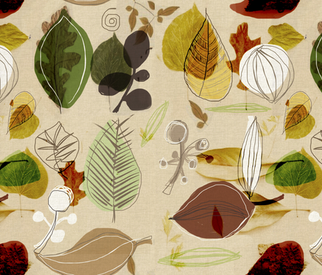 Leafy Love in Autumn fabric by chrissyink on Spoonflower - custom fabric