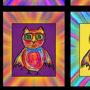 GOGGLES OWL HOOT CHECKERED PANEL Large