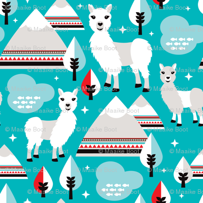 Lama alpaca woodland winter aztec patagonia winter illustration