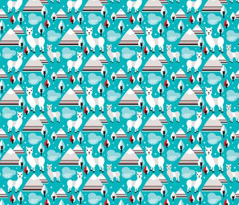 Lama alpaca woodland winter aztec patagonia winter illustration fabric by littlesmilemakers on Spoonflower - custom fabric