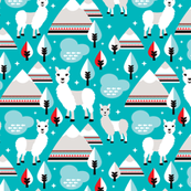 Lama alpaca woodland winter aztec patagonia winter illustration