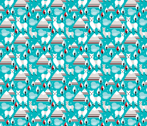 Lama alpaca woodland winter aztec patagonia winter illustration fabric by littlesmilemakers on Spoonflower - custom fabric
