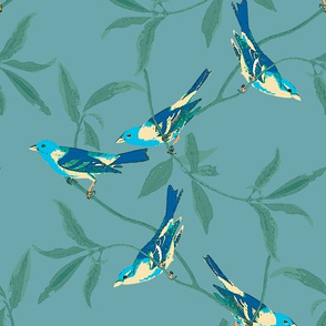 BRIGHT BIRDS ON AQUA