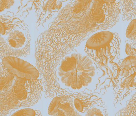 Jellyfish ~ Versailles Fog and Gilt Swarm fabric by peacoquettedesigns on Spoonflower - custom fabric