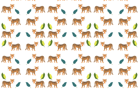 Tigers in the jungle fabric by laurenmholton on Spoonflower - custom fabric