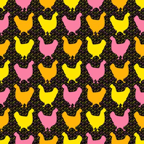 Happy Chickens (Dark) fabric by robyriker on Spoonflower - custom fabric