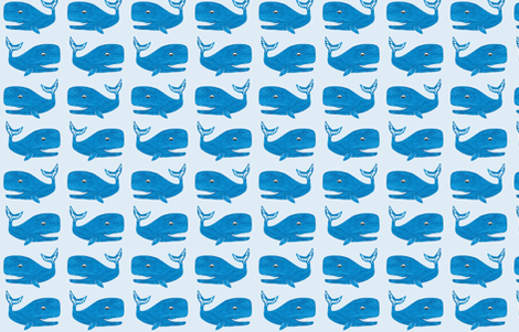 Bright blue happy whales fabric by laurenmholton on Spoonflower - custom fabric