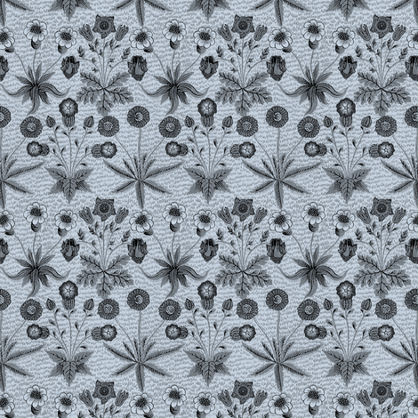William Morris Daisy ~ Versailles Blue and Black fabric by peacoquettedesigns on Spoonflower - custom fabric