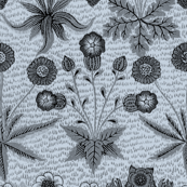William Morris Daisy ~ Versailles Blue and Black