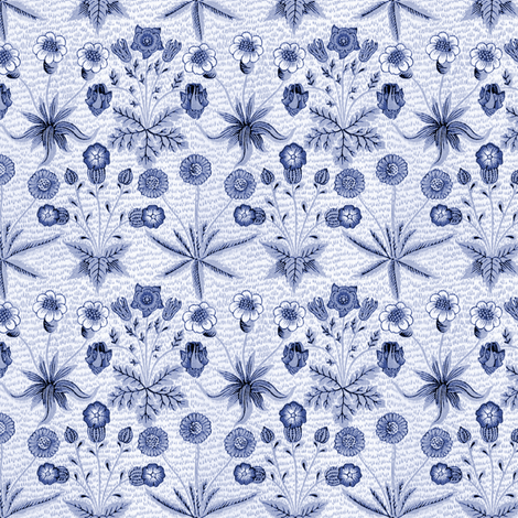 William Morris Daisy ~ Blue and White fabric by peacoquettedesigns on Spoonflower - custom fabric