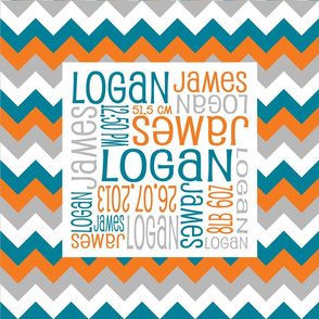 Personalised Birth Cushion Panel - Teal Orange Grey Chevron